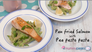 Pan fried salmon with pea pesto pasta