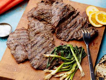 Beer-marinated grilled skirt steak