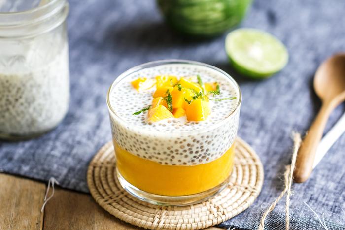 Mango and lime chia pudding