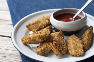 Quinoa coated chicken goujons