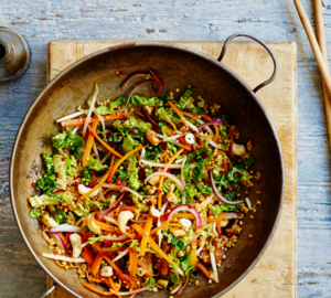 Millet cashew stir-fry with chilli and lime sauce