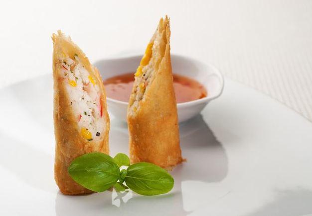 Tuna and sweetcorn spring rolls