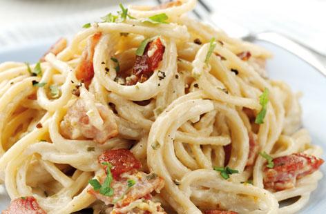 Light wholewheat spaghetti carbonara recipe