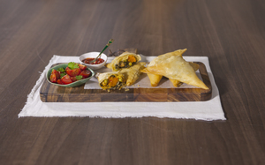 Spinach & Butternut Squash Samosas with Moroccan Spices