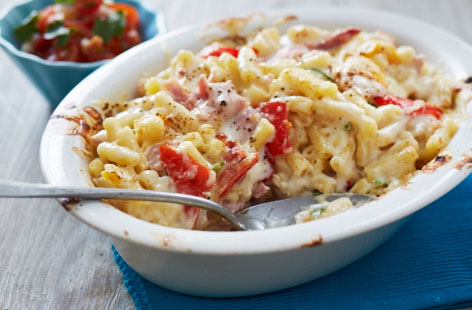 Spicy mac and cheese with simple salsa recipe
