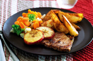 Pork chops with potato wedges recipe