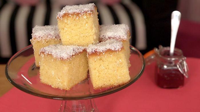 Jam & coconut sponge slice