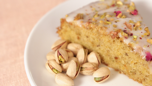 Lemon, rosewater and pistachio cake
