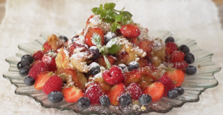 Apple & Berry Fritters with Lemon Balm Sugar and Raspberry Drizzle