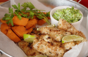 Coconut Fish Goujons with Lime Sweet Potatoes Wedges and Mushy Peas