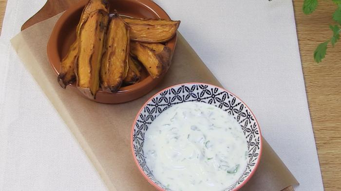 Sweet potato wedges with coriander yoghurt