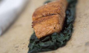 Cider glazed fillet of salmon