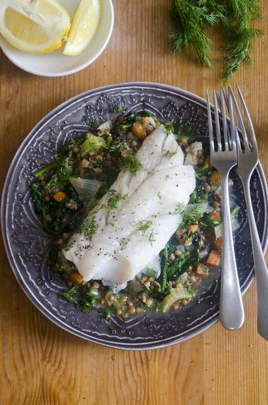 Haddock with lentils