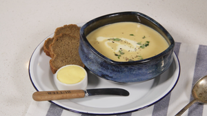 Roasted turnip and thyme soup