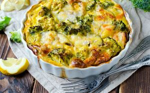 Salmon, broccoli and potato gratin