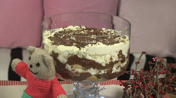 Chocolate and coconut trifle