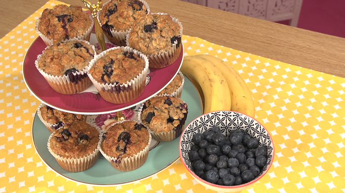 Banana, blueberry and chia seed muffins