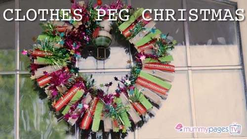 Clothes peg Christmas wreath