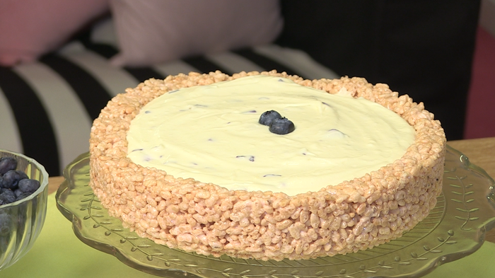 Crisped rice cheesecake