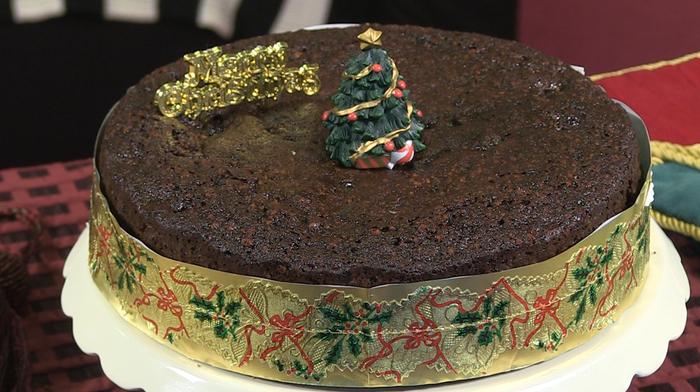 Chocolate and fruit Christmas cake
