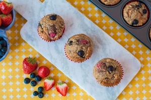 Strawberry, apple and blueberry muffins