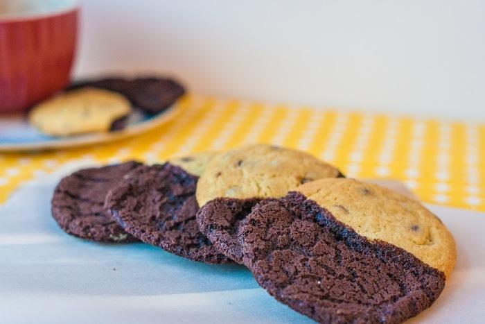 Half and half chocolate cookies