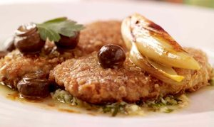 Sautéed escalope of pork or veal with oatmeal and parmesan crumb, sauce gribiche
