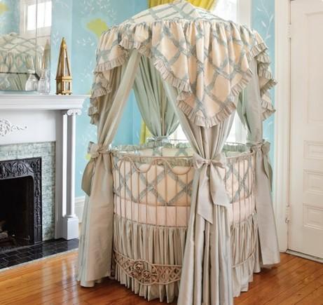 Addison Floral Round Iron Canopy Crib