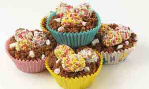 Easter nests with truffle eggs