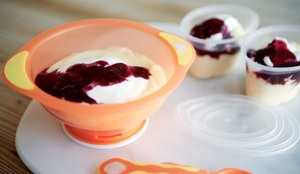 Polenta Pudding with Blueberry Sauce for Baby