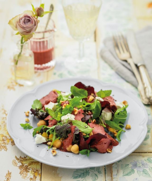 Beef, blueberry and feta salad
