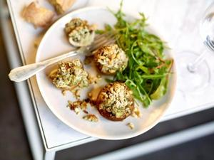 Mushrooms stuffed with lamb, ricotta and pesto