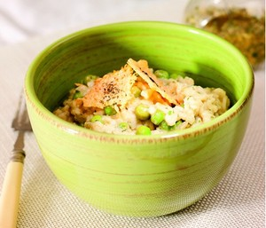 Pea and pesto risotto
