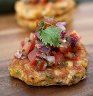 Sweet corn fritters with tomato salsa