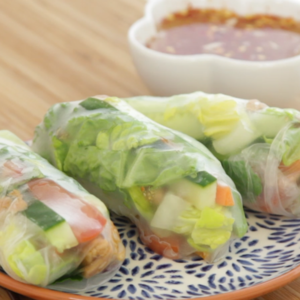 Chilli and garlic spring rolls