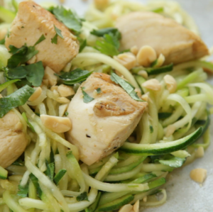 Zesty chicken and courgette spirals