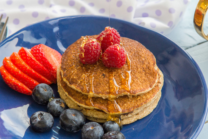 Healthy wholegrain pancakes