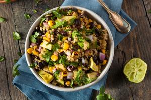 Quinoa, beans and feta salad