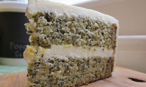 Poppy seed cake with butter cream