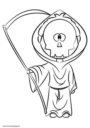 Child dressed as Grim Reaper