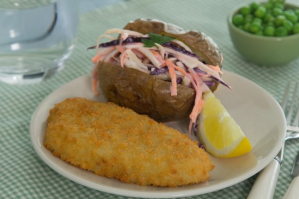 Breaded Fish with baked potato and no-mayo coleslaw