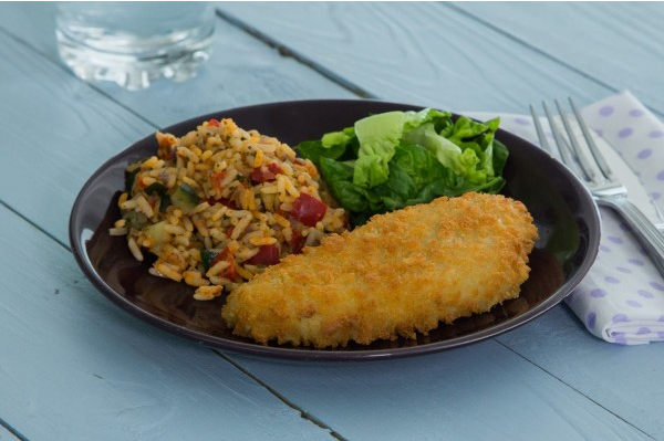 Breaded Fish with Mediterranean Rice