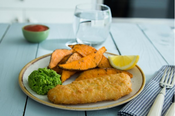 Cod Fillets with sweet potato wedges and minty crushed peas