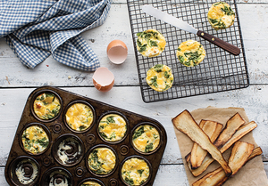 Mini egg frittatas with parsnip chips