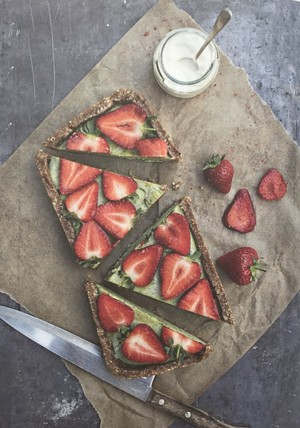 Strawberry and basil cheesecake
