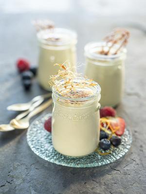 Crème pots with seasonal berries