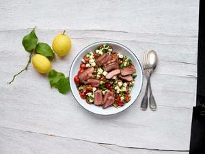 Greek salad with lentils and lamb