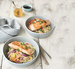 Lemon & Pepper Salmon with Stir-Fried Vegetable Noodles