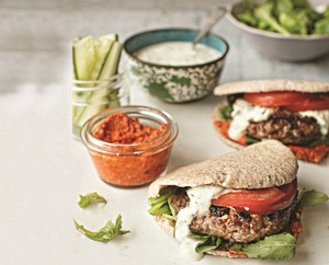 Greek Pitta Beef Burgers