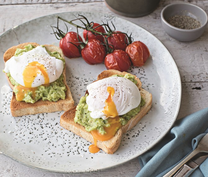 Poached Eggs with Roasted Cherry Tomatoes and Smashed Avocado